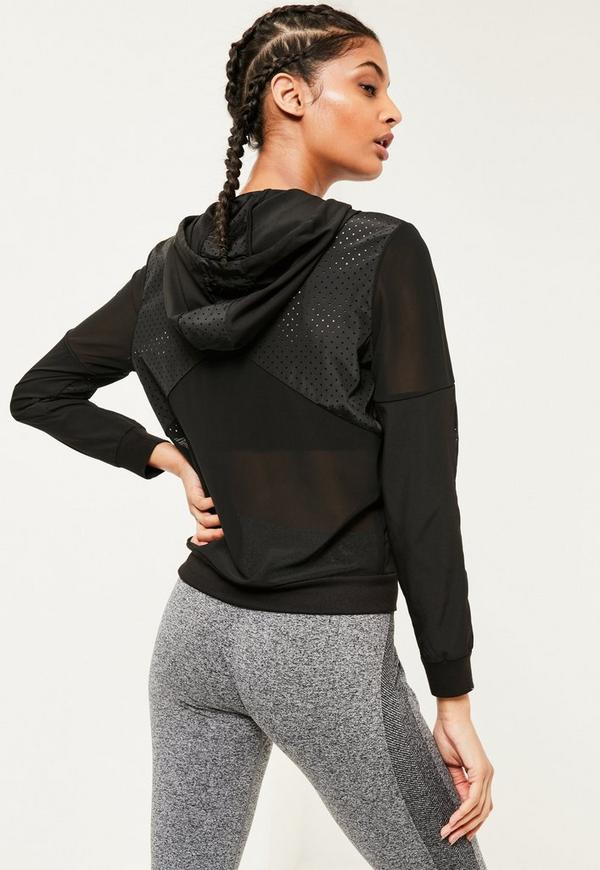 Active Black Mesh Sports Jacket | Missguided