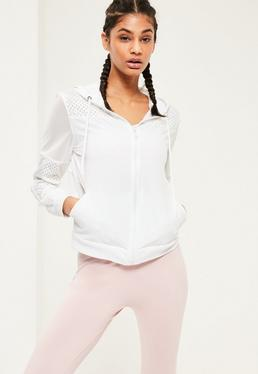 Active White Woven Mesh Airtex Sports Jacket