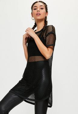 Active Black Fishnet Oversized T-Shirt