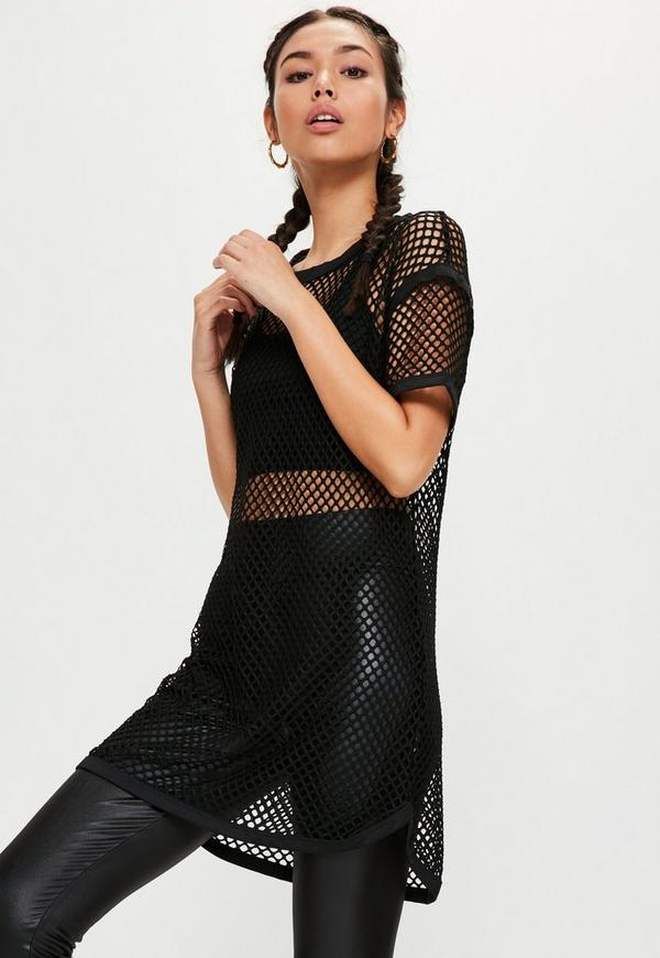 Active Black Fishnet Oversized T-Shirt