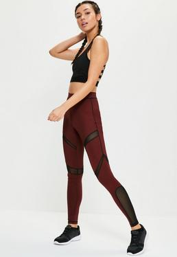 Active Burgundy Mesh Panel Sports Leggings