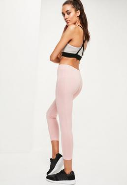 Active Pink Cropped Seamless Sports Leggings