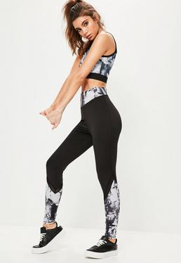 Active Black Marble Print Full Length Panel Leggings