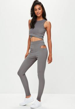 Active Grey Cut Out Leggings