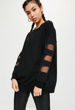 Active Black Mesh Sleeve Sweatshirt