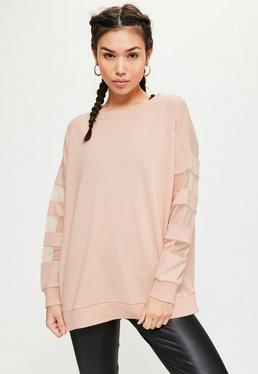 Active Nude Mesh Sleeve Sweatshirt