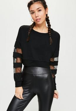 Active Black Mesh Sleeve Cropped Sweatshirt