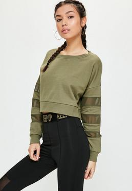 Active Khaki Mesh Sleeve Cropped Sweatshirt