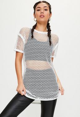Active White Fishnet Oversize T-Shirt