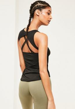 Active Black Strap Back Vest Top