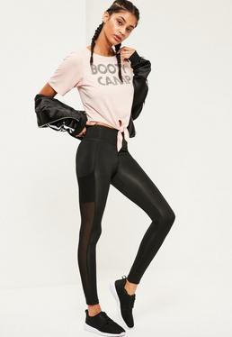 Active Black Mesh Side Pocket Detail Leggings