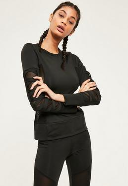 Active Black Mesh Bandage Long Sleeve Sports Top