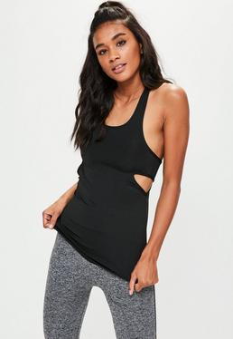 Active Sport-Top mit Cut-Outs in Schwarz