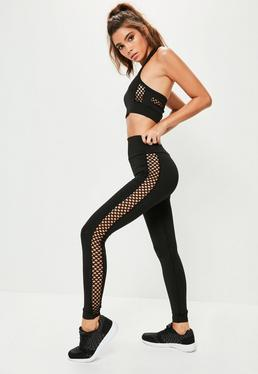 Black Cross Side Mesh Detail Leggings
