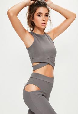 Active Kurzes Crop Yoga-Top mit Vorder-Knoten Trägerverzierung in Grau