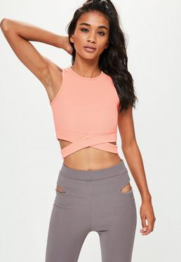 Active Pink Tie Front Yoga Top