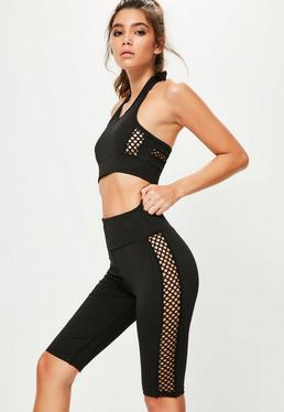 Black Cross Side Mesh Detail Cycling Shorts