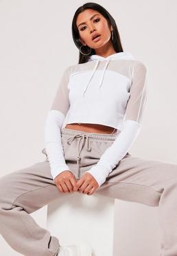 Biała bluza z panelem z siatki i kapturem Active