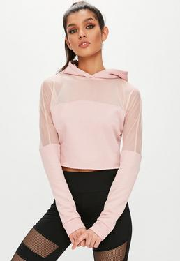 Active Pink Mesh Panel Hoodie