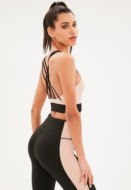 Active Blush Cross Back Crop Top