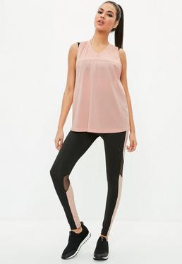 active black mesh colour block gym leggings