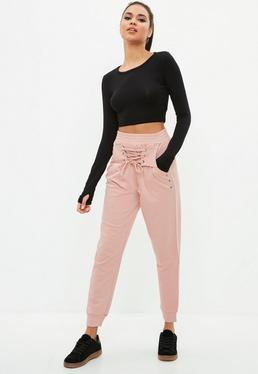 Active Różowe spodnie dresowe z wiązaniem