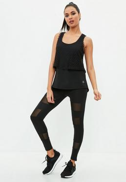 Active Leggings con transparencias en negro