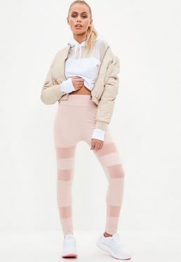 active pink mesh insert gym legging