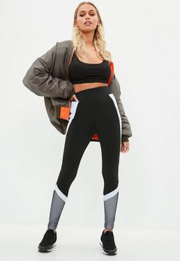 Active Black Colour Block Fishnet Insert Gym Leggings
