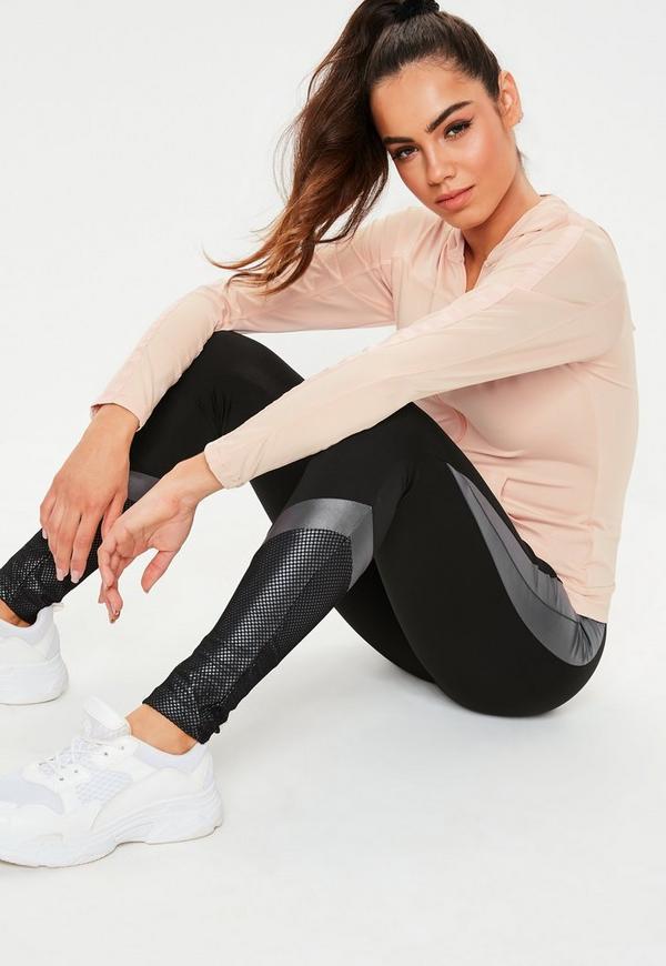 Active Black Colour Block Fishnet Gym Leggings by Missguided