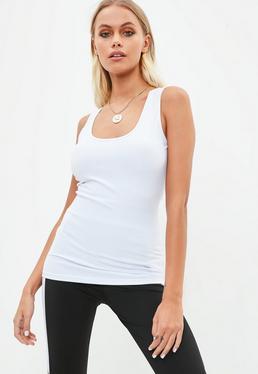Active Biały elastyczny top na ramiączkach