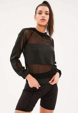 Active Black Fishnet Scuba Sweater