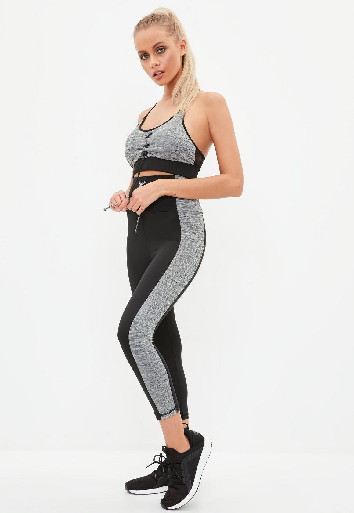 e22601cee0b02 Active Black Crossover Cropped Lace Up Gym Legging | Missguided Ireland