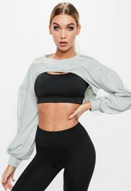 Active Grey Heat Slogan Front Cut Out Sweatshirt