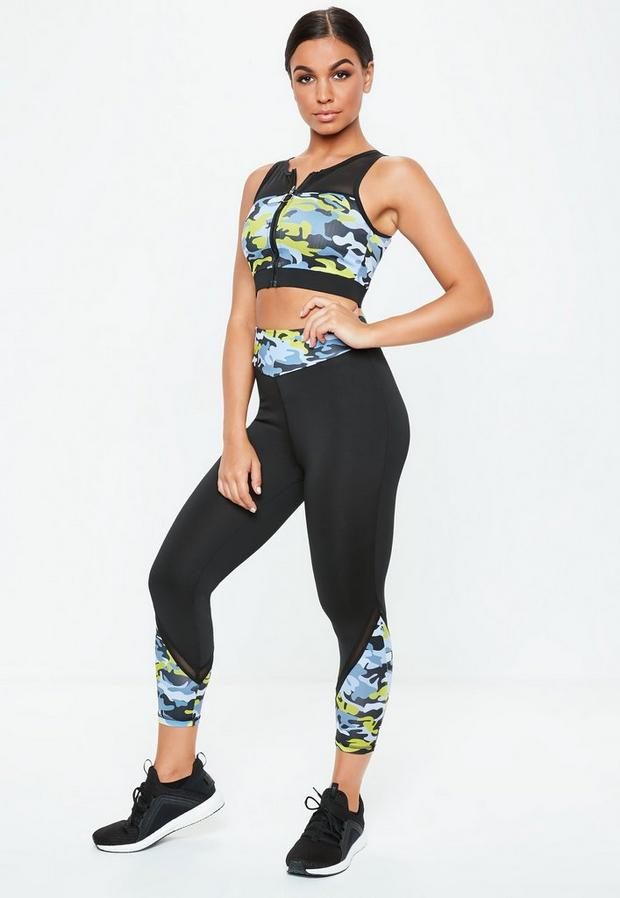 Image of Active Black Camo Print Cropped Panelled Leggings, Green