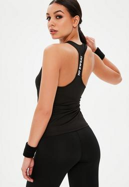 Active Black Racer Back Slogan Vest