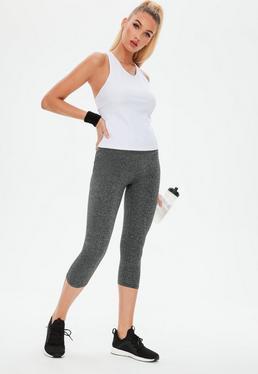 active grey cropped gym legging