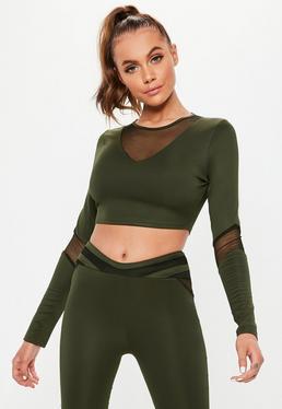 194dee359c8 Active Green Snake Print Hooded Cropped Sweatshirt · Active Khaki Mesh  Insert Cropped Long Sleeve Top