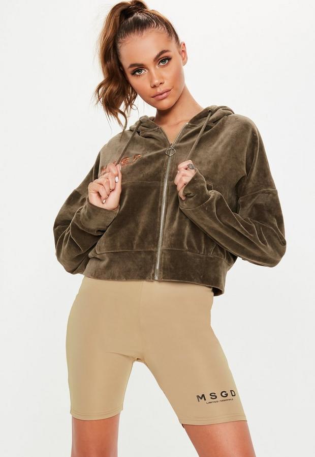 Missguided - Khaki Velour Missguided Hooded Sweatshirt - 1