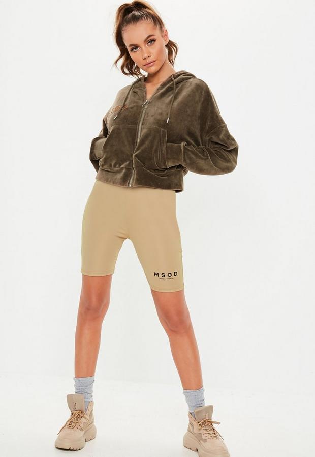 Missguided - Khaki Velour Missguided Hooded Sweatshirt - 2
