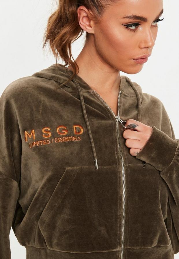 Missguided - Khaki Velour Missguided Hooded Sweatshirt - 3