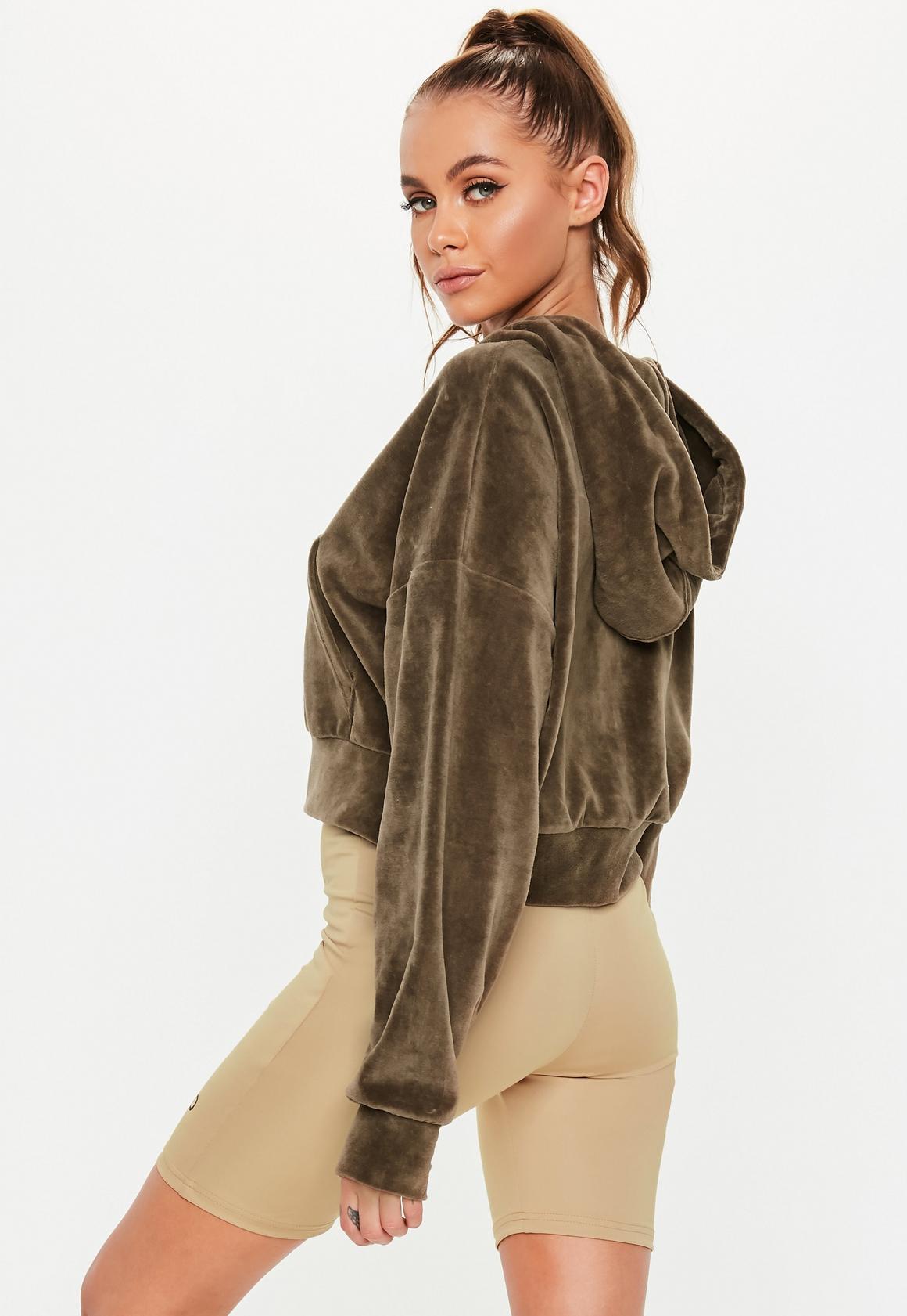 Missguided - gilet à capuche court en velours marron active - 4