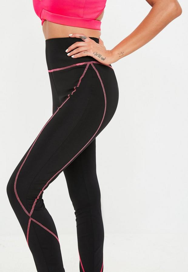 Missguided - Pink Contrast Stitch Leggings - 3
