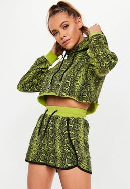 fe4d17aa09a53 Active Lime Green Snake Print Racer Back Sports Bra · Active Green Snake  Print Hooded Cropped Sweatshirt