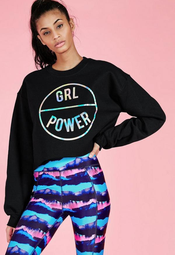 Active GRL Power Cropped Sweatshirt Black