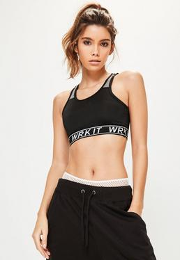 "Active elastischer Sport-BH mit ""WRK IT"" -Slogan in Schwarz"