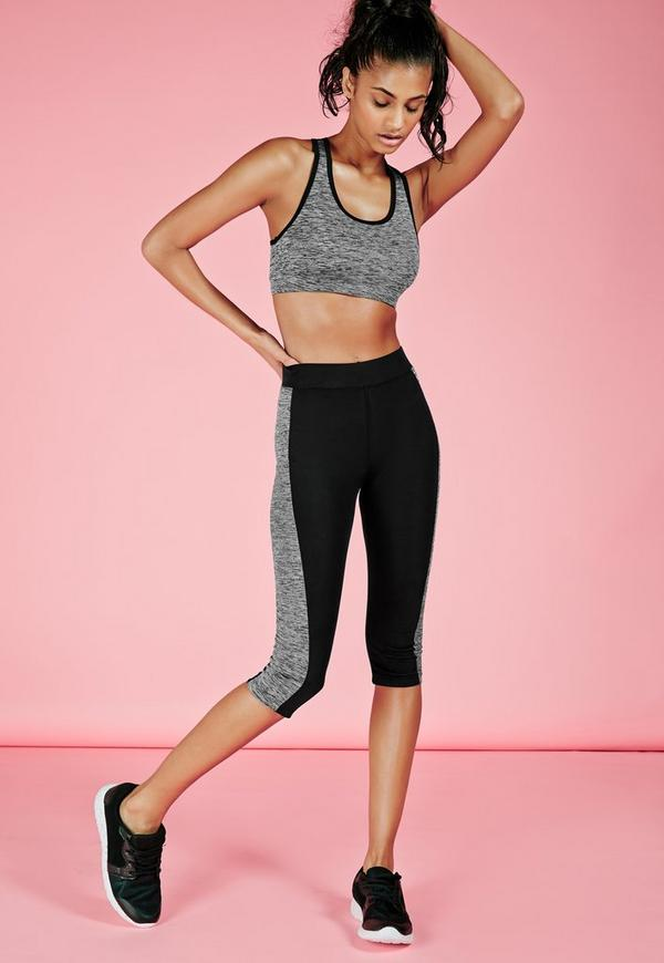 active contrast panel cropped gym leggings grey marl