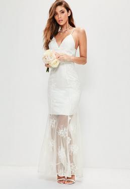 Vestido largo de novia con tirantes de encaje en blanco