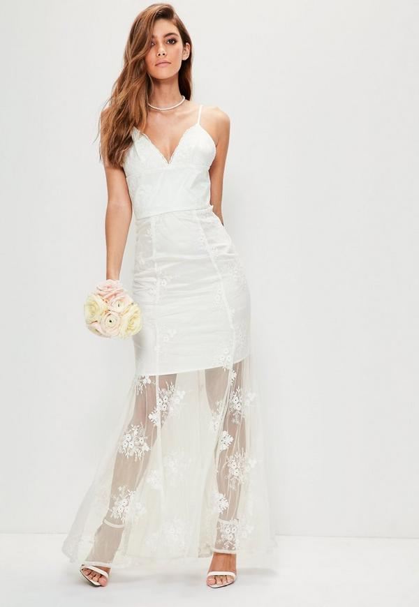 Bridal White Strappy Lace Maxi Dress | Missguided