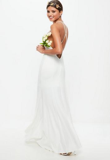 Bridal White Square Neck Cross Back Maxi Dress | Missguided